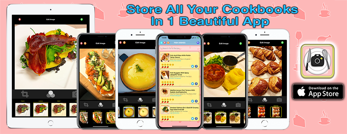 Store all your cookbooks in one beautiful app! Recipe Selfie mobile app.