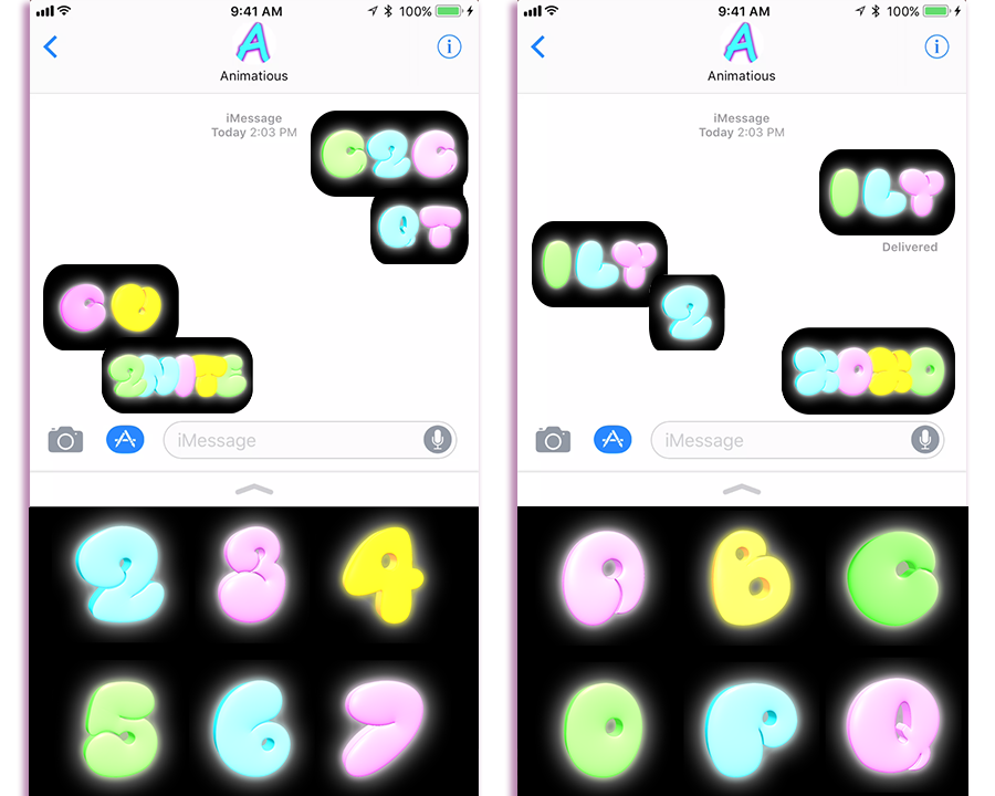 Send fun glowing text messages with the Neon Chat stickers app.